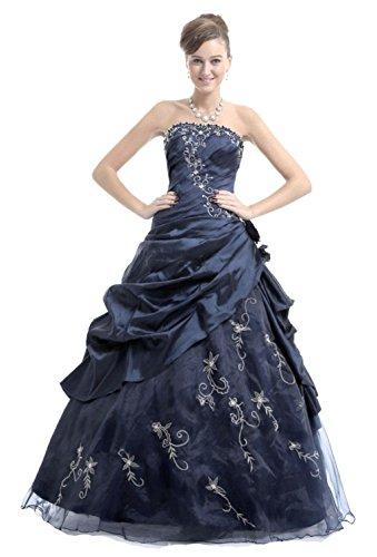 Vantexi - Vestido - Sin tirantes - para mujer azul marino