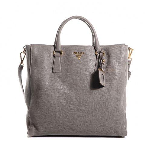 Prada Women's Gray Vitello Danio Shopping Tote 1BG075 -