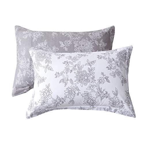 Pillow Floral Cotton Sham - FADFAY 20X30 Pillowcase Vintage Floral Shams 100% Cotton Pillow Covers, 2Pcs, Standard Size (Twin/Full/Queen)