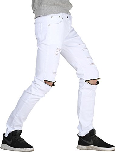 Pleated Denim Jacket (Vogstyle Men's Slim Fit Destroyed Jeans with holes Pencil pants Slim zipper Jeans with holes Style 1 White-29)