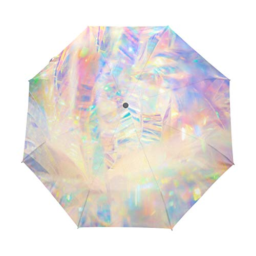 Top Carpenter Holographic Iridescent Metallic Anti UV Windproof Travel Umbrella Parasol Auto Open/Close