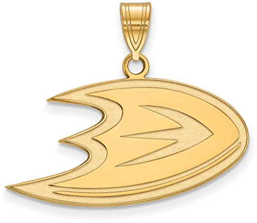 Gold-Plated Sterling Silver NHL Anaheim Ducks Medium Pendant by LogoArt