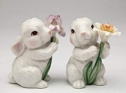 Iris Salt - Fine Porcelain Spring White Bunny Rabbit Holding Iris and Daffodil Flower Salt & Pepper Shakers Set, 3-1/8