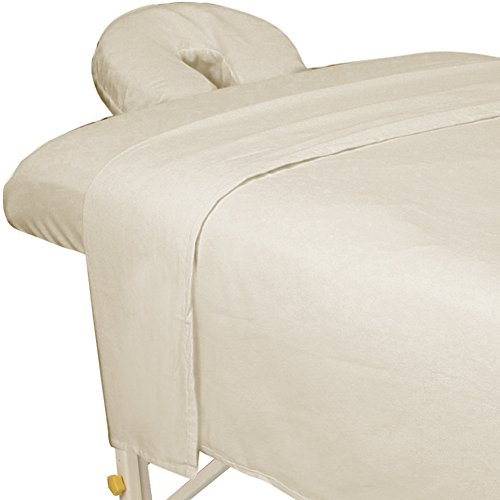 ForPro Premium Flannel 3-Piece Massage Sheet Set, Natural, for Massage Tables, Includes Massage Flat Sheet, Massage Fitted Sheet, and Massage Fitted Face Rest Cover - Massage Table Sheets