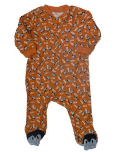 Happy Halloween Infant Bodysuit Spooky Orange Bat Sleeper Boo Baby Costume]()