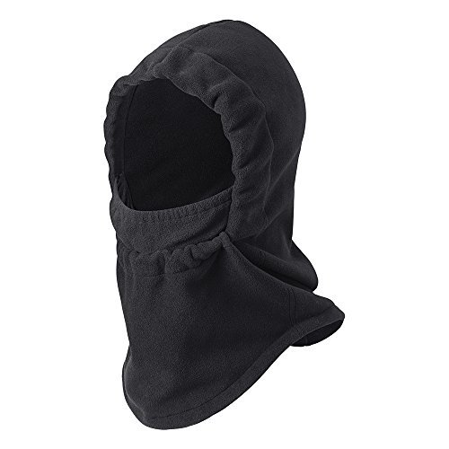 Zero-Degree Cold Weather Fleece Hood Face Coverup with Adjustable Face Drawstring (Wolf Grey)