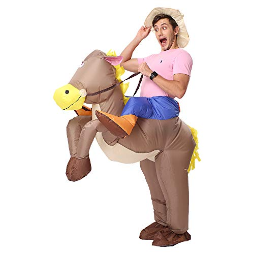 Funny Make It Yourself Halloween Costumes (Decalare Inflatable Unicorn T-REX/Horse/Sumo Wrestler Wrestling Suits Costume Halloween Party Blow up Costumes Adult/Kids)