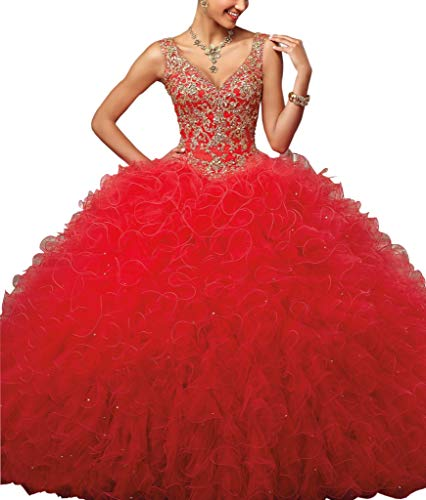 Ball Gown V Neck Quinceanera Evening Dress with Ruffles Keyhole Back Sequin Gold Embroidery Red 0