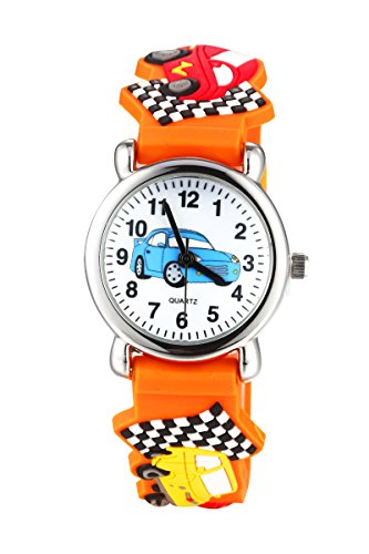 Jewtme Cute Toddler Children Kids Watches Ages 5-8 Analog Time Teacher 3D Silicone Band Cartoon Watch for Little Girls Boys (Car Orange)