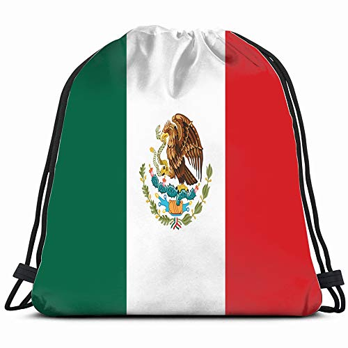 Flag Mexico Miscellaneous Signs Symbols Drawstring Backpack Sports Gym Bag For Women Men Children Large Size With Zipper And Water Bottle Mesh Pockets