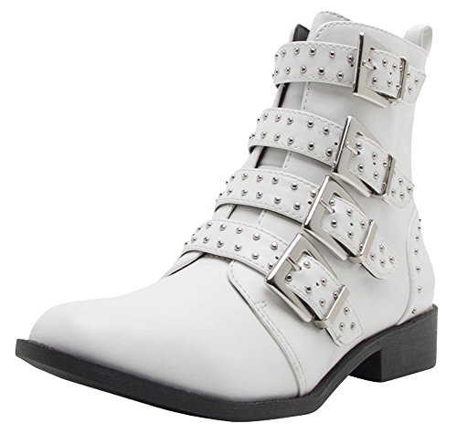 Cambridge Select Women's Closed Round Toe 4 Buckled Strap Studded Moto Combat Low Chunky Block Heel Mid-Calf Boot,8 B(M) US,White Pu