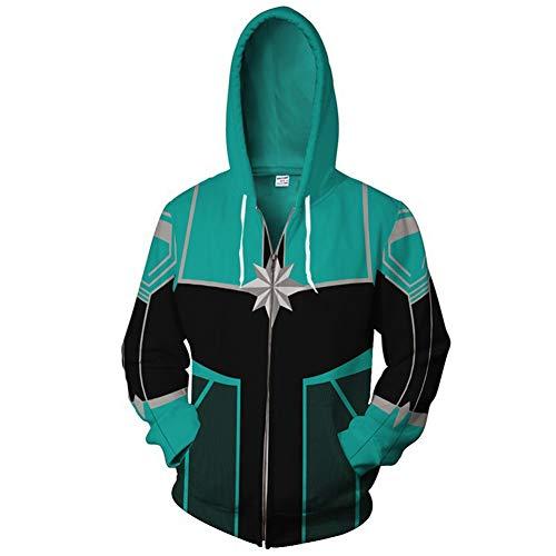 Super Hero Hoodie Super Hero Costume Creative Fashion Sweater Halloween Costume (XL, Captain-M B Women's -