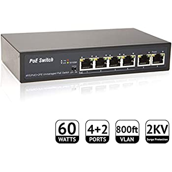 LaView 5-Port Ethernet Unmanaged PoE Switch 4 Ports PoE+, 1 Uplink 60W, 15W/30W Per Device, Plug-and-Play IEEE 802.3af/at, Sturdy Metal, Fanless