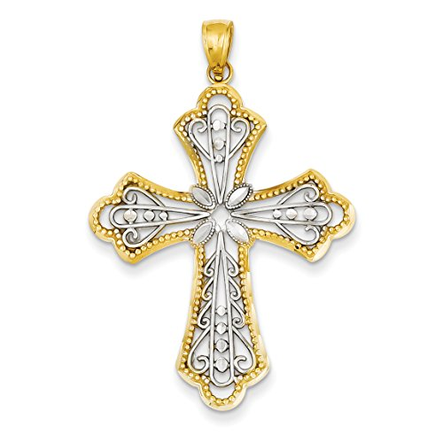 14K Yellow Gold Diamond-cut Filigree Cut-out Cross Pendant