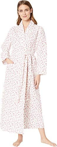 (Carole Hochman Women's Diamond Quilt Long WRAP Robe, red Ditsy Floral)