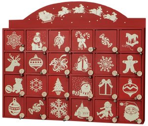 Red and White Santa on Sleigh Wooden Advent Calendar with Doors from Primitives by Kathy