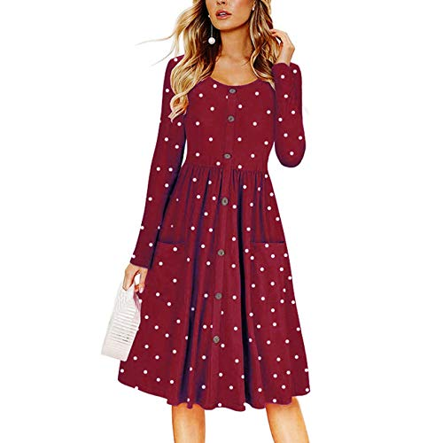Cnokzol Women Long Sleeve Polka Printed Tunic Dress Casual Button Down Midi Dress Pocket(XXL,Wine ()
