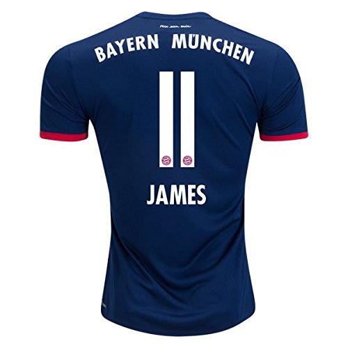 JAMES RODRIGUEZ 11 BAYERN MUNICH 17/18 Away Soccer Jersey Men's Color Blue Size S