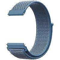 KNY 2125205740 Samsung Galaxy Watch Active 2 (20mm) İçin Kumaş Desenli Çırtçırlı Kayış-Kordon, Mavi