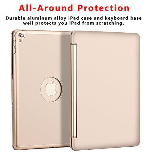 Ipad Pro 9.7 Keyboard Case, NOVT Aluminum Alloy Ultra Thin Smart Bluetooth Wireless Keyboard 7 Color Led Backlit with Protective Case Cover Stand Auto Sleep/Wake for Apple iPad Pro 9.7 Inch (Gold) by NOVT (Image #2)'