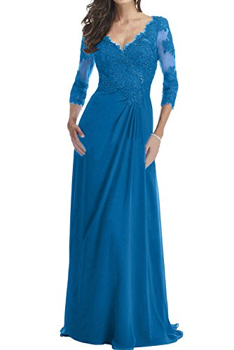 Ivydressing Mutterkleid Damen Blau Spitze V Mit Ausschnitt Aermeln Abendkleider Promkleider FRwFr