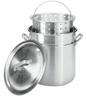 Bayou Classic 4042 42 Quart All Purpose Aluminum Stockpot With Steam And  Boil Basket