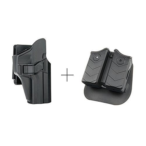 - efluky Double Magazine Pouch + H&K USP 9mm/.40 Full Size Belt Holster Kit, Polymer OWB Right Hand Holster with Trigger Release Adjustable Cant Only for Heckler & Koch USP 9 mm/.40, Mag Pouch for 9mm