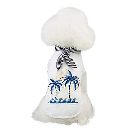 soAR9opeoF Summer Women Vest T-Shirt Coconut Tree Striped Bow Tie Pet Puppy Dog Costume Clothes White XXL