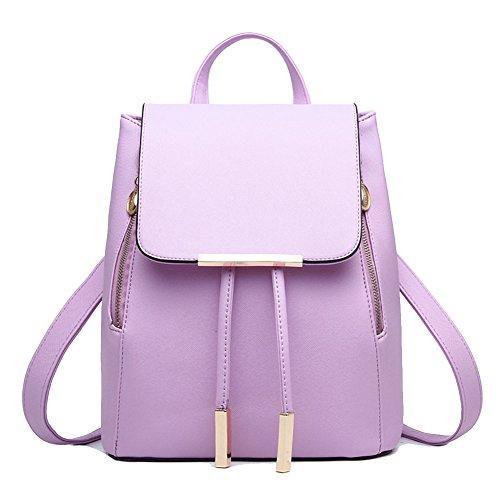 Mochila Bolso del Hombro Pu Piel Encantador y Elegante para Mujeres Verde Púrpura