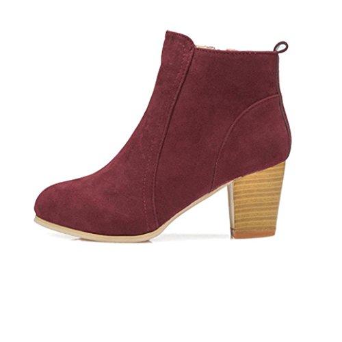 Botas Mujer,Ouneed ® Botas de mujer elegantes zapatos de tacón alto Botas de invierno de otoño Martin Rojo
