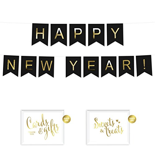 Andaz Press Shiny Gold Foil Paper Pennant Hanging Banner With Gold Party Signs  Happy New Year  Black  Pre Strung  No Assembly Required  1 Set  2018  2019  2020