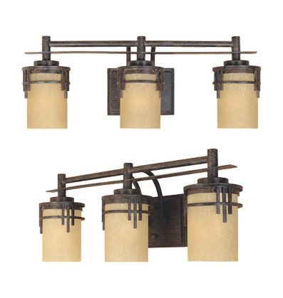 Warm Mahogany Asian Three Light Down Lighting 23.5in. Wide Bathroom Fixture from The Mission Ridge -