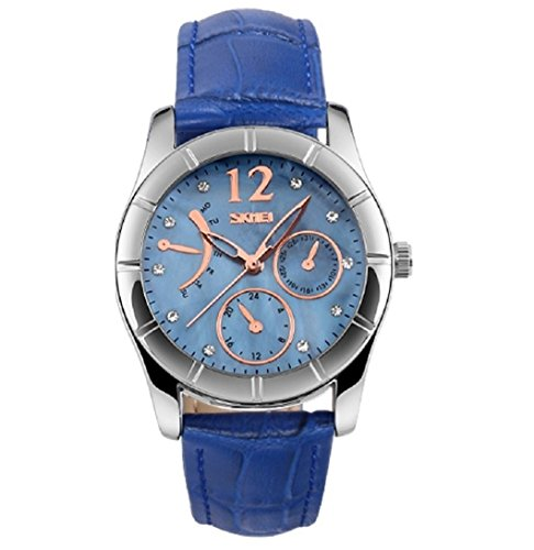 Women's Watch Fashion Quartz Analog Leather Strap Water Resistant Wrist Watches for Lady Girl – Blue