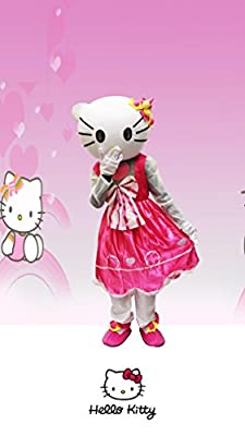 JWUP Adult Size Pink Hello Kitty Mascot Costume Cartoon Character Costume for Christmas Party