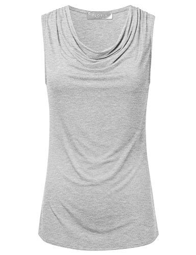 (FLORIA Women's Cowl-Neck Ruched Draped Sleeveless Stretchy Blouse Tank Top HEATHERGREY)