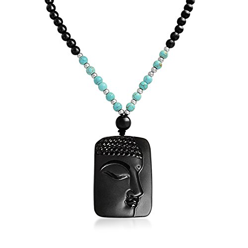 Stabilized Turquoise Black Bead Carved Long Large Boho Fashion Statement Thai Buddha Pendant Necklace for Women for Men ()