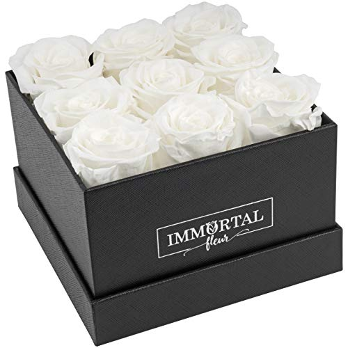 Immortal Fleur Preserved Roses | Fresh Real Flowers Arranged In Elegant Square Box | Last Over a Year | Handmade Gifts For Her: Valentine's Day, Mother's Day, Anniversary & Birthday | White: 9 Roses
