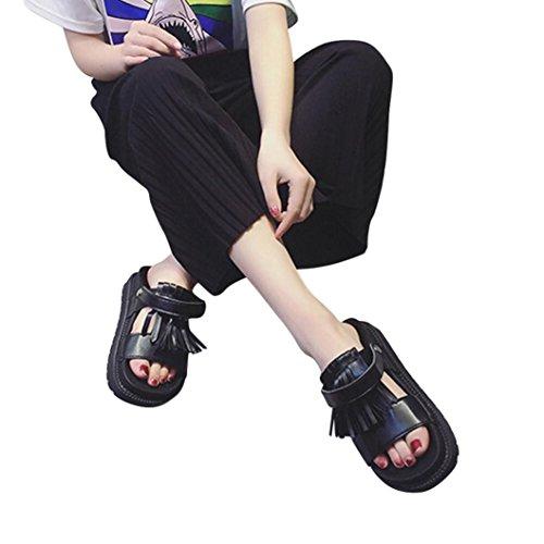 Transer® Damen Sandalen/Slipper Quaste Blockabsatz Kunstleder+Gummi Grau Schwarz Weiß Splitter Sandalen (Bitte achten Sie auf die Größentabelle. Bitte eine Nummer größer bestellen) Schwarz