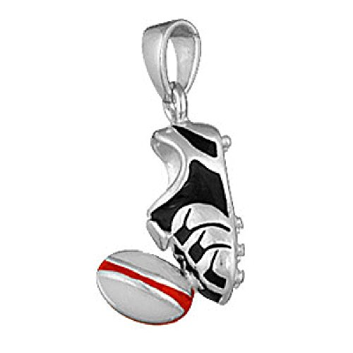 So Chic Jewels - 925 Sterling Silver Enamel Rugby Ball Kicker Stud Boot Pendant