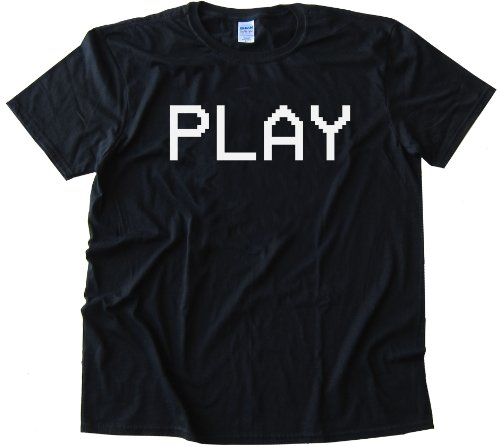 PLAY camcorder text VCR - High Quality Fashion Tee Shirt - Black (Medium)