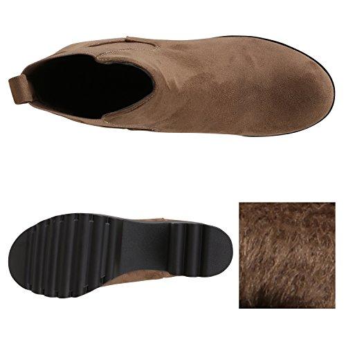 5b63c473563ffa ... Stiefelparadies Leicht Gefütterte Booties Damen Stiefeletten Plateau Chelsea  Boots Plateauschuhe Blockabsatz Profilsohle Schuhe Leder-Optik