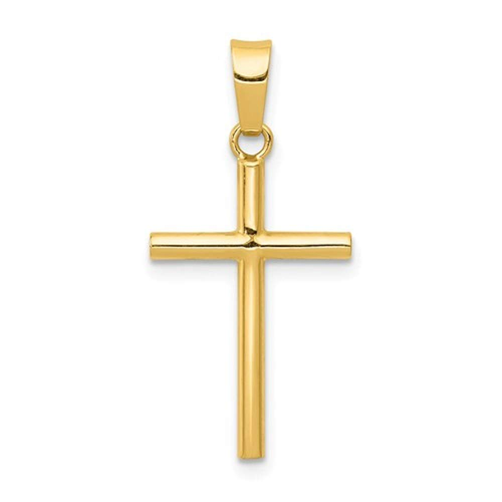 Two Sizes LooptyHoops 14k Yellow Gold Simple Classic Cross Pendant Charm