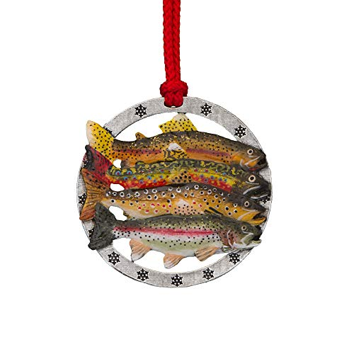 Creative Pewter Designs Trout Grand Slam Hand Painted Ornament, FP012OR (Fish Grande Hand Painted Design)