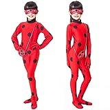 Kids Zip Miraculous Ladybug Cosplay Costume Halloween Girls Ladybug Marinette (L)