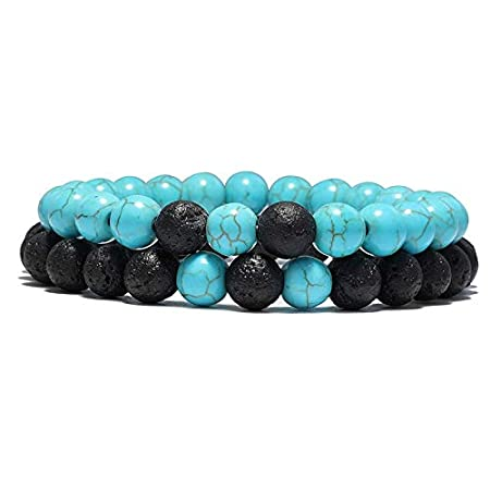 KAIISH Bracelet 2 Pcs//Set Natural Stone Beads Distance Bracelets Sets Lovers Mens Yoga Tiger Eye Hand Braclet Jewelry Accessories Homme