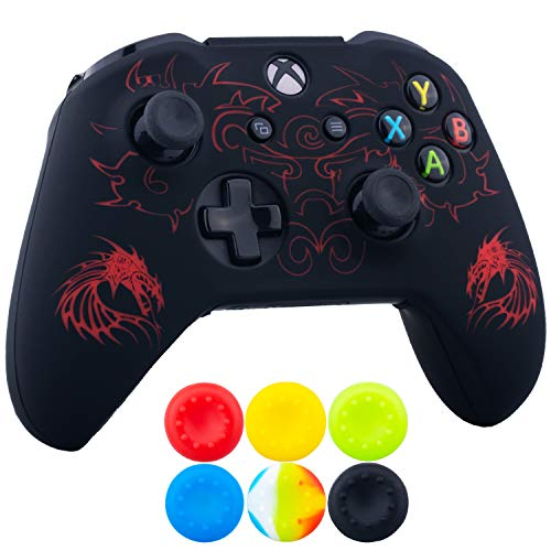 9CDeer 1 x Silicone Laser Carving Protective Cover Skin + 6 Thumb Grips for Xbox One S/X Controller Dragon Red