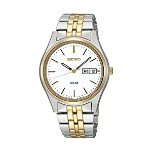 41N5AqoSQiL. SS300  - Seiko Men's Two-Tone White Dial Solar Calendar Watch