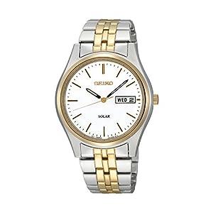 41N5AqoSQiL. SS300  - Seiko Men's Two-Tone White Dial Solar Calendar Watch
