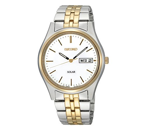 Seiko Men's Two-Tone White Dial Solar Calendar Watch