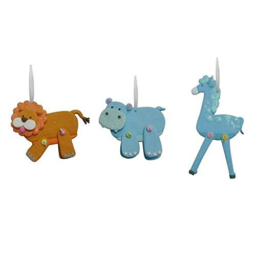 Babys First Christmas Ornaments Lion Hippo Giraffe (set of 3)